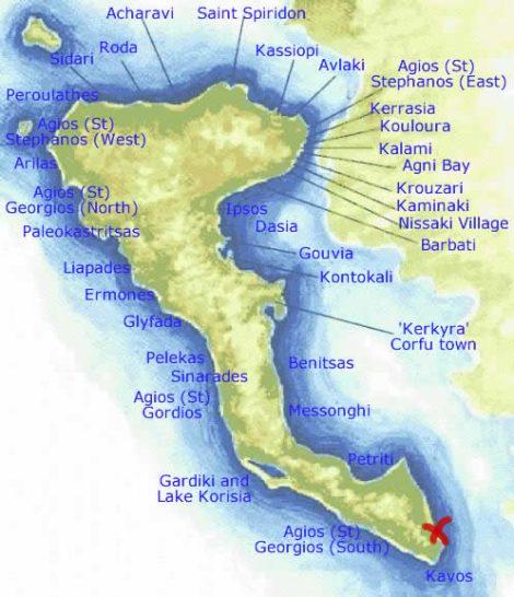 kavos mapa Kavos na samém jihu Korfu | Korfu kavos mapa